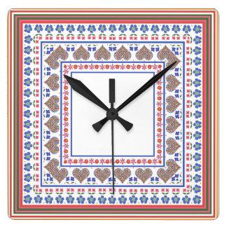 民芸のスタイルのボーダー正方形の柱時計 スクエア壁時計