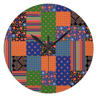 民芸のスタイルの模造のなパッチワークのアクリルの柱時計 ラージ壁時計