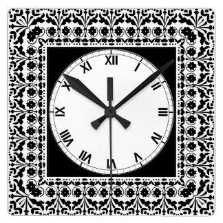 民芸のスタイルの白黒国の台所 スクエア壁時計