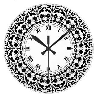 民芸のスタイルの白黒国の台所 ラージ壁時計