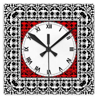 民芸のスタイルの黒の赤と白の国の台所 スクエア壁時計