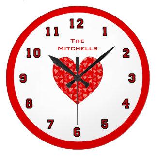 民芸のハート内の赤いDitsyのハート ラージ壁時計