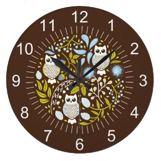 民芸のフクロウおよび森林パターン ラージ壁時計