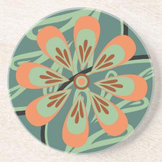 民芸のモモ/ティール(緑がかった色)の花のコースター コースター