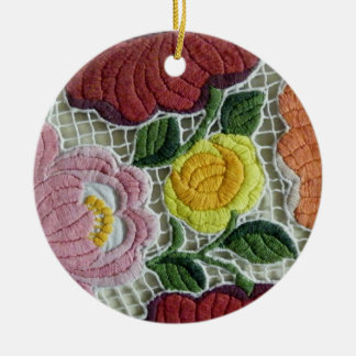 民芸の刺繍の花 セラミックオーナメント