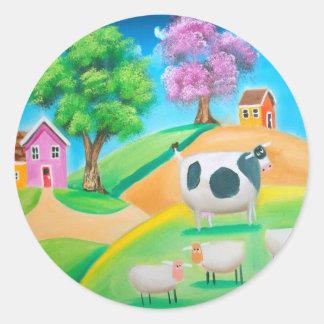 民芸の多彩な牛およびヒツジの絵画 ラウンドシール