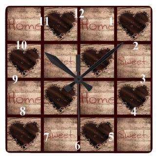民芸の家の甘い家のコラージュのハート スクエア壁時計