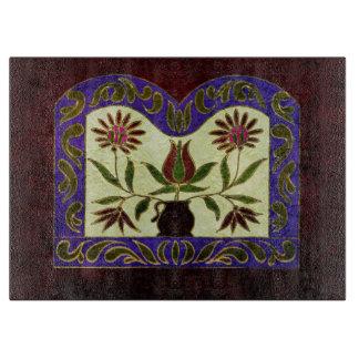 民芸の花柄の色彩の鮮やかな紫色木 カッティングボード