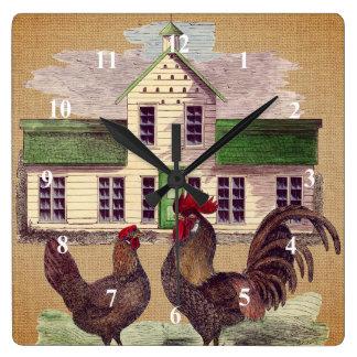 民芸の農場構内の鶏の素朴なデザイン スクエア壁時計