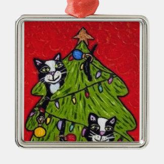 民芸猫のクリスマスツリー メタルオーナメント