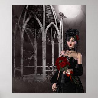 気味悪いゴシック様式望楼によるゴシックの花嫁及びバラ ポスター