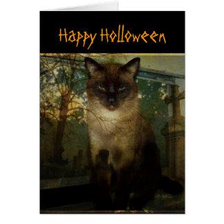 気味悪いシャム猫のハロウィンの挨拶状 カード