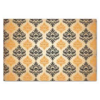 気味悪いスカルパターン黒のオレンジ金ゴールドハロウィン 薄葉紙
