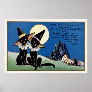 気味悪いハロウィンのヴィンテージの黒猫の装飾ポスター ポスター