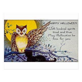 気味悪いフクロウのヴィンテージハロウィン ポストカード