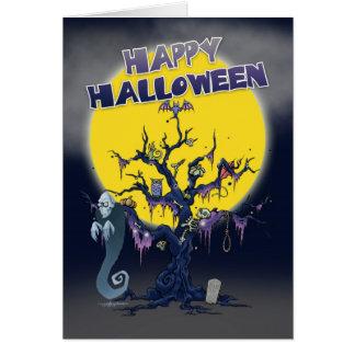 気味悪い木および悪鬼が付いているハロウィンカード カード