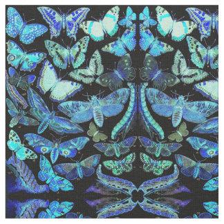 気味悪い蝶ガの暗藍色の生地 ファブリック