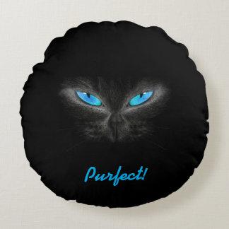 気味悪い青い目の猫ポリエステル円形の装飾用クッション ラウンドクッション