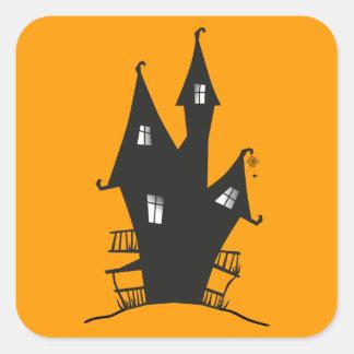気味悪い魔法使いの家の正方形のステッカー スクエアシール