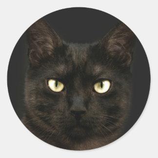 気味悪い黒猫 ラウンドシール