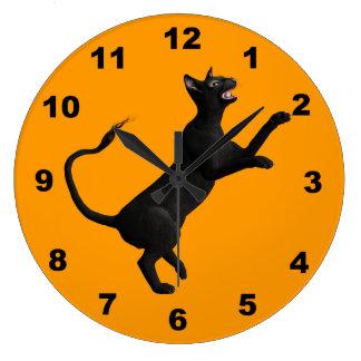 気味悪い黒猫 ラージ壁時計