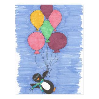 気球およびペンギンの芸術家の郵便はがき ポストカード