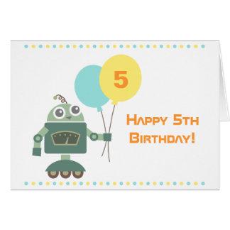 気球が付いているかわいいロボット、子供のハッピーバースデー グリーティングカード