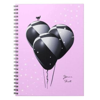 気球が付いているかわいらしいピンクのノート ノートブック