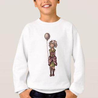 気球が付いているファンキーな女の子の漫画のスケッチ スウェットシャツ