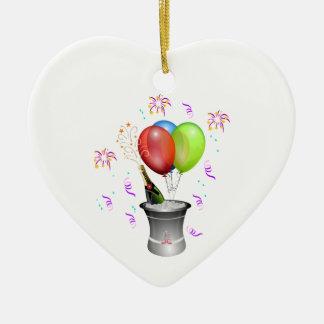 気球が付いている氷の新年のシャンペンのボトル セラミックオーナメント