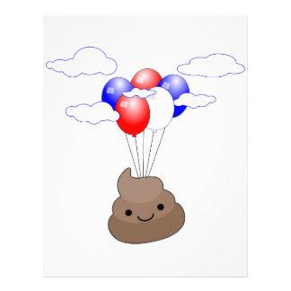 気球とのPoo Emojiの飛行 レターヘッド
