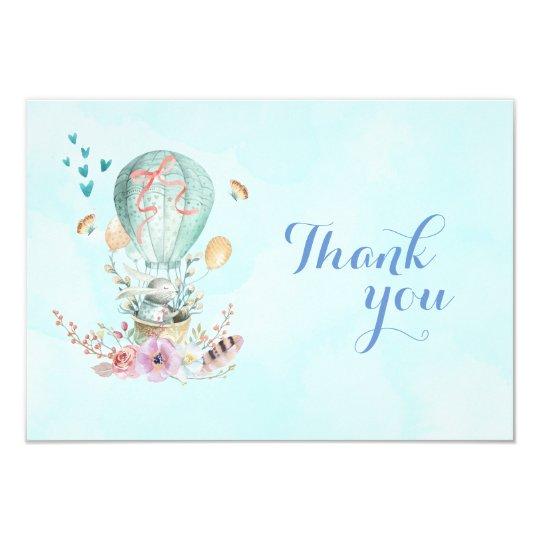 気球のお洒落なベビーのバニーは感謝していしています カード