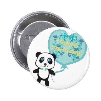 気球のバッジを持つかわいいパンダ 5.7CM 丸型バッジ