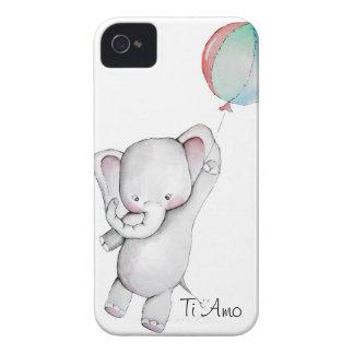気球のブラックベリーの箱を持つベビー象 Case-Mate iPhone 4 ケース