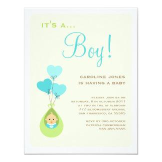 気球のベビーシャワーの招待状の男の子 10.8 X 14 インビテーションカード