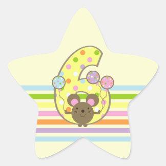 気球のマウスの黄色の第6誕生日の星のステッカー 星シール