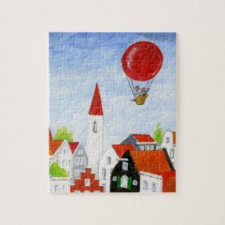 気球のマウス及び屋根のパズル ジグソーパズル