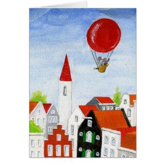 気球のマウス及び屋根 カード