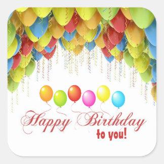 気球のワウの誕生日のステッカー スクエアシール