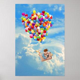 気球の冒険男の子および犬 ポスター