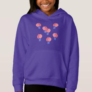気球の女の子のプルオーバーのフード付きスウェットシャツ