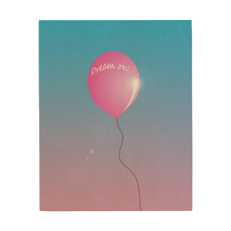 """気球の感動的な木製のキャンバス""""で""""夢を見て下さい ウッドウォールアート"""