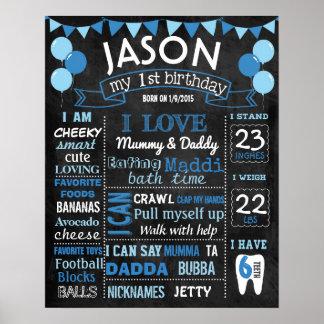 気球の最初誕生日の黒板の印 ポスター