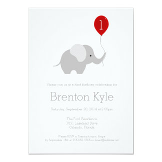 気球の誕生日の招待状2を持つ小さい象 カード