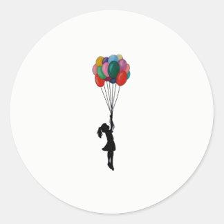 気球を持つかわいいステッカーの女の子 ラウンドシール