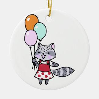 気球を持つアライグマ セラミックオーナメント
