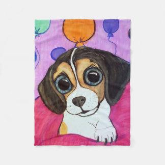 気球を持つビーグル犬の子犬 フリースブランケット