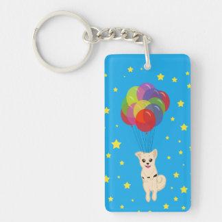 気球を持つ子犬 キーホルダー