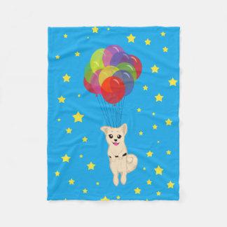 気球を持つ子犬 フリースブランケット