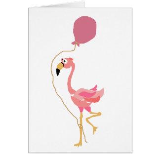 気球を握っているピンクのフラミンゴ カード